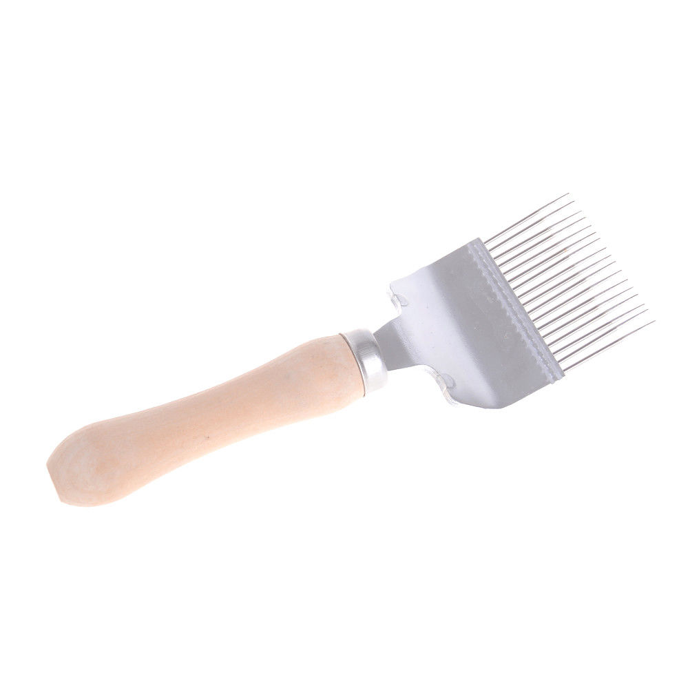Wooden handle uncapping fork