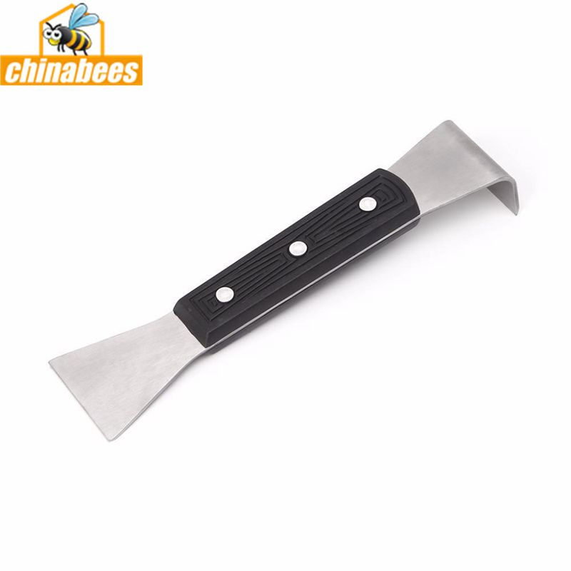 Stainless steel hive tool with plastic handle